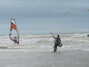 kitesurfing and windsurfing at Camber Sands East Sussex