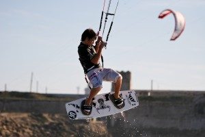 Sam kitesurfing in Tarifa Spain when he was 12 year old