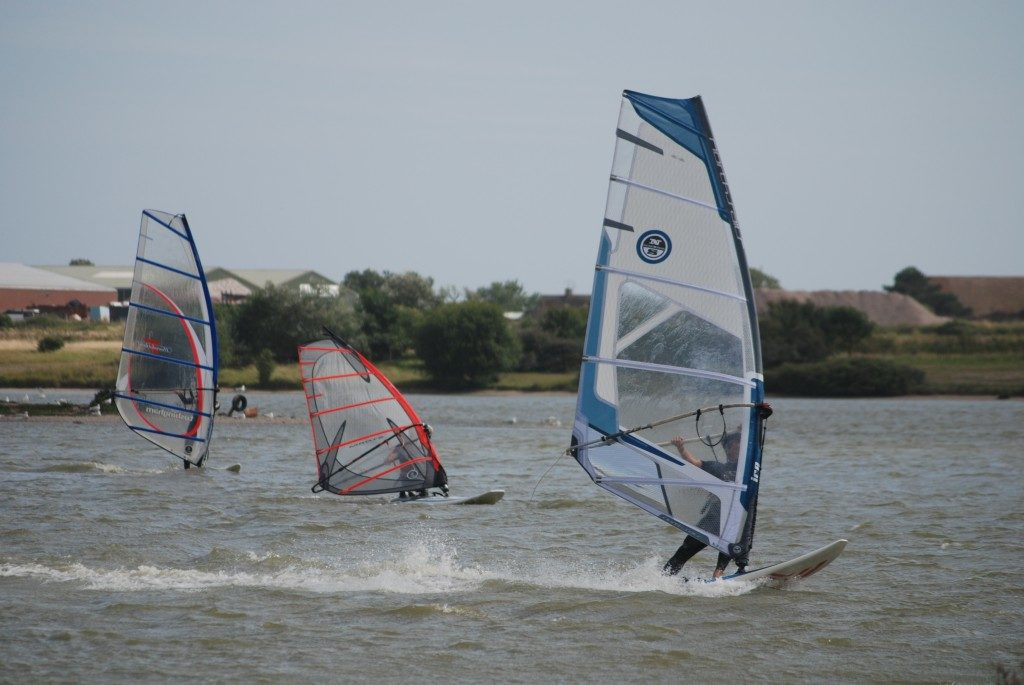 windsurfers day launch on the lake