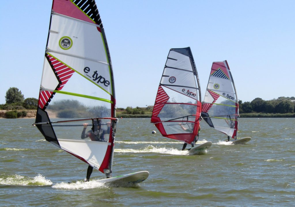 3 windsurfers on north hire equipment