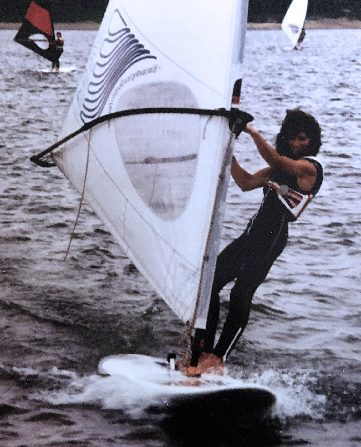the owner windsurfing in 1982